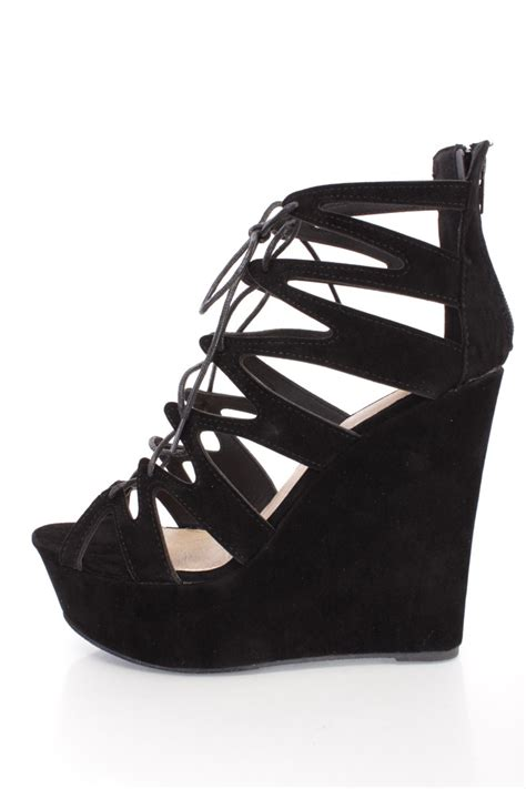 Wedges 2 Strappy black strappy lace up platform wedges faux suede