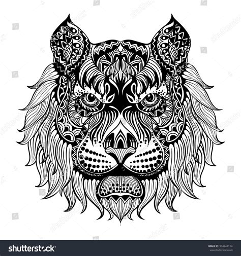 pattern drawing lion ethnic patterned head lion animals black stock vector