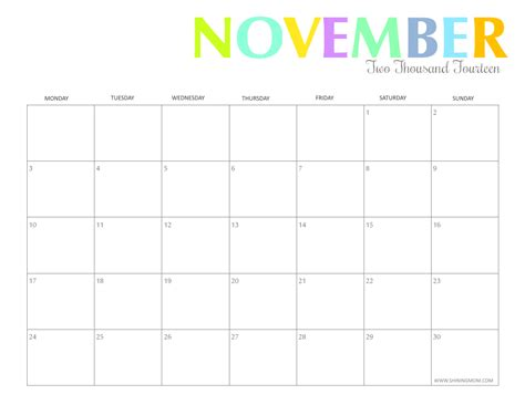 printable monthly planner november 2014 free printable colorful 2014 calendars by shining mom