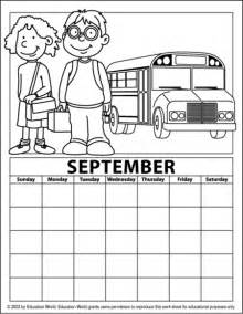 september color free coloring pages of blank calender