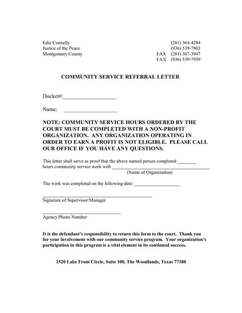 Service Hours Letter Community Service Letter For Court Best Business Template