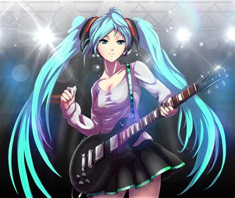 hatsune miku anime girl with headphones anime girls aqua hair guitars hatsune miku headphones