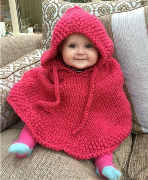 Knitted Hooded Baby Poncho Pattern Free Baby Poncho