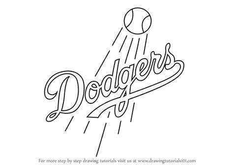 learn   draw los angeles dodgers logo mlb step  step drawing tutorials