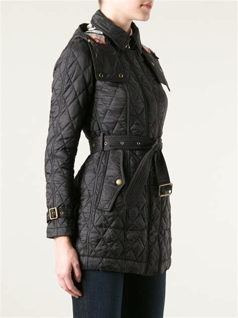 Black Quilted Coat by Burberry Brit Quilted Trench Coat In Black Lyst