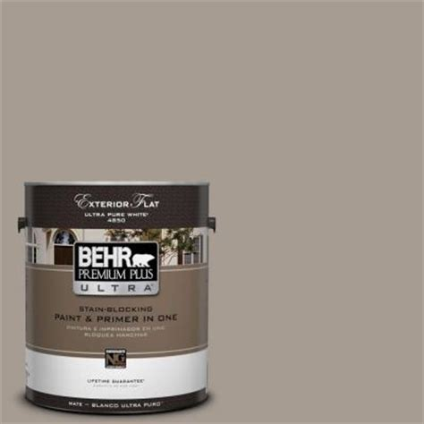 behr premium plus ultra 1 gal n200 4 rustic taupe flat exterior paint 485401 the home depot