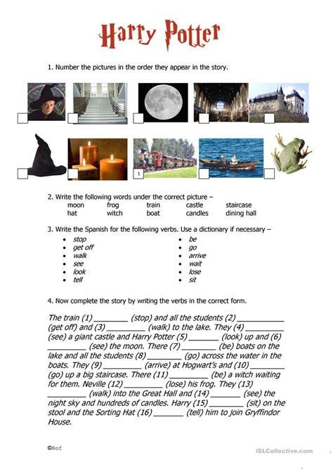harry potter printable activity sheets harry potter past tense worksheet free esl printable