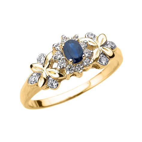 14 ct yellow gold oval sapphire and engagement ring