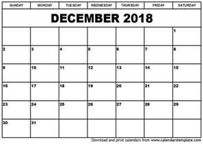 Calendar For 2018 December December 2018 Calendar Template