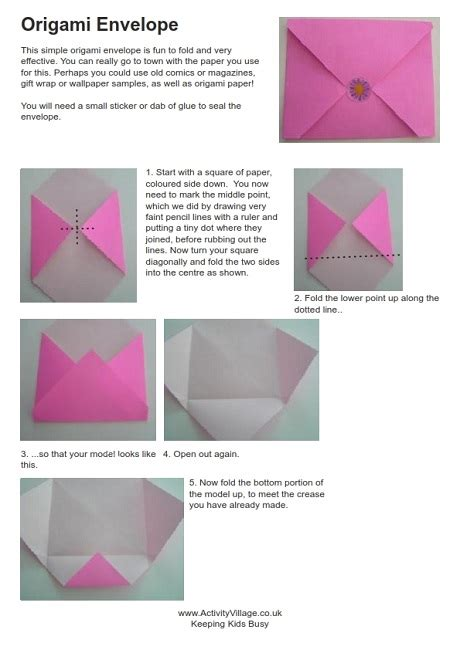 Origami Envelope Pattern - origami envelope d i y do it yourself