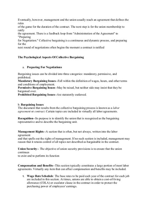 relations agreement template labour relation and collective bargaining