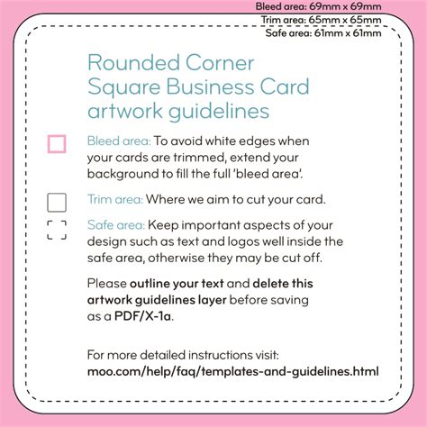 Rounded Corner Business Card Template Indesign by Square Business Cards Templates Moo Support