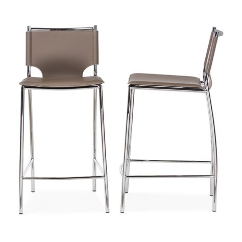 Modern Leather Counter Stools by Baxton Studio Montclare Modern And Taupe