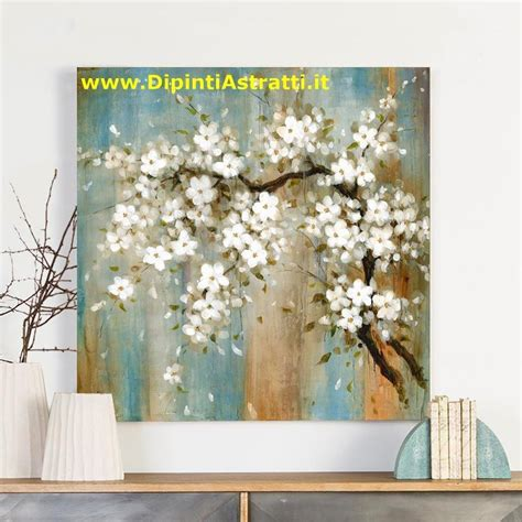 fiori dipinti su tela quadro su tela ramo di fiori bianchi dipintiastratti