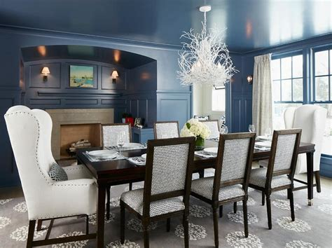 Blue Dining Room by Blue Dining Room With Black Dining Table And White Leather