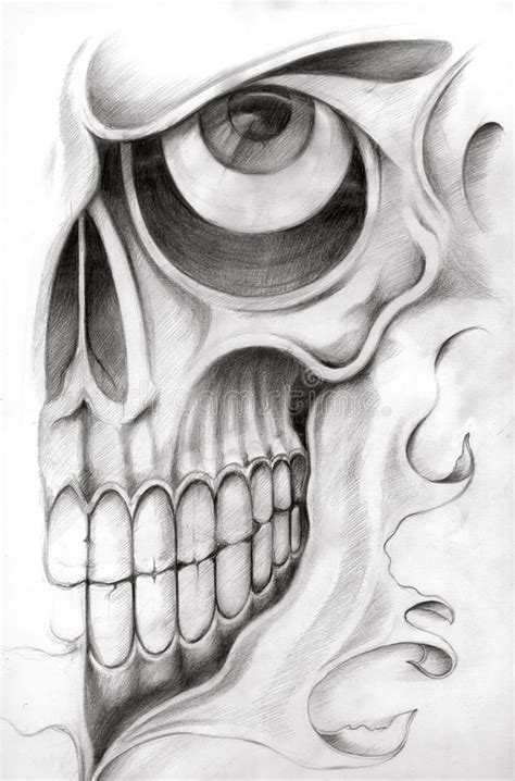 skull art tattoo stock illustration image of face