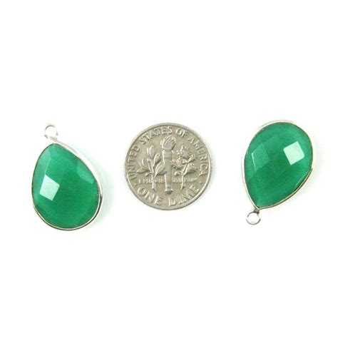 wholesale sterling silver teardrop bezel green onyx