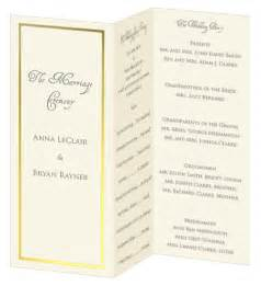 tri fold wedding program templates images