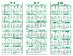 3 Year Calendar 2018 To 2020 2018 2019 2020 3 Year Calendar