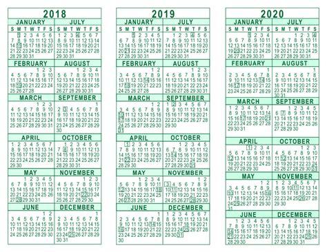 2018 And 2019 Calendar 2018 2019 2020 3 Year Calendar