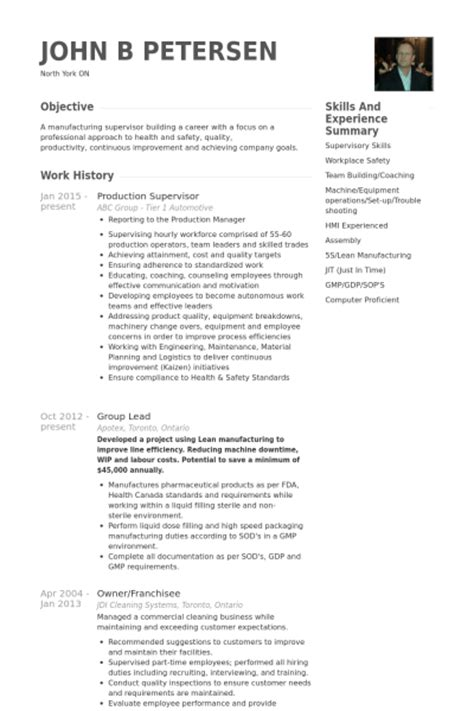 resume templates for a supervisor production supervisor resume sles visualcv resume
