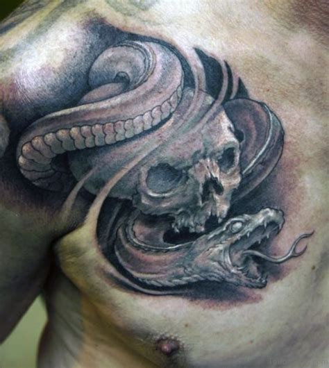 snake and skull tattoo designs 83 trendy snake tattoos for chest