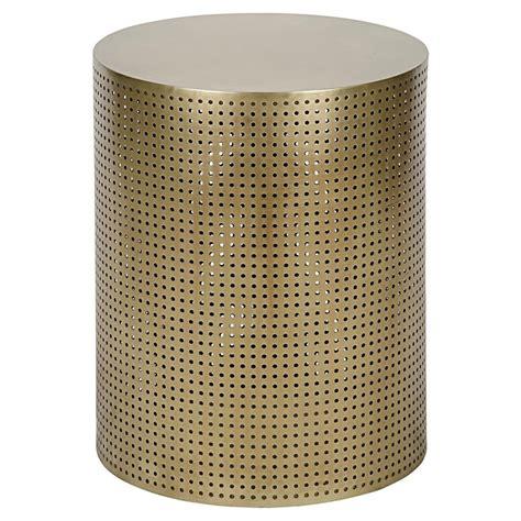 drum side table orelia modern gold brass metal mesh drum side table 20