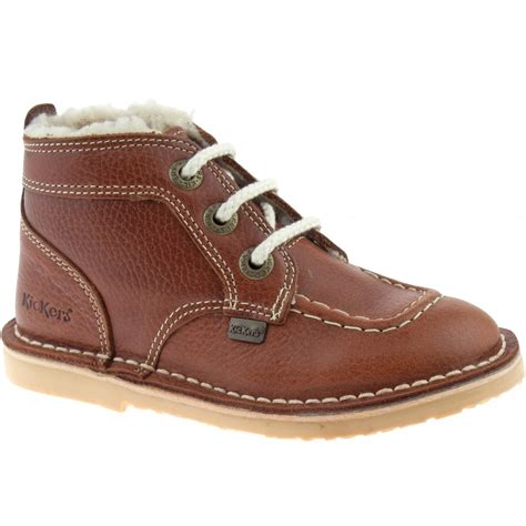 Kickers Boots boys infants kickers adlar legendary leather fur lined boots 113529 casual shoes