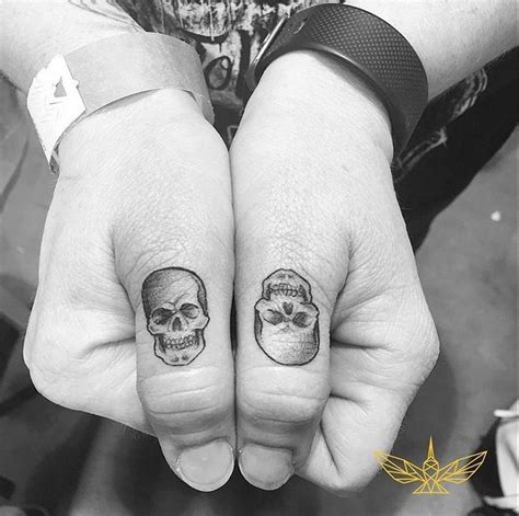 matching skull tattoos best 25 skull finger tattoos ideas on small