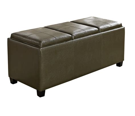 Storage Ottoman With Serving Tray Simpli Home Avalon Faux Leather Rectangular Storage Ottoman With 3 Serving Trays