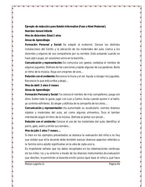 boletines de maternal evaluaci 243 n en la educaci 243 n inicial