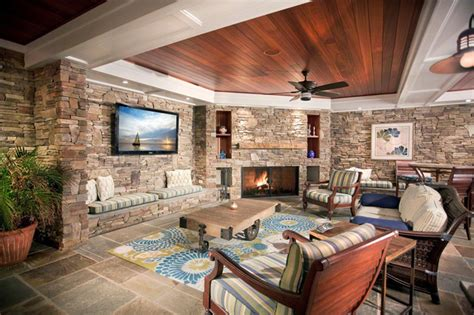 stone wall in living room stone wall living room with custom furniture