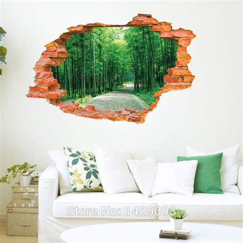 Wall Sticker Pohon Orange 3d 2016 large wall sticker tree forest landscape 3d brick