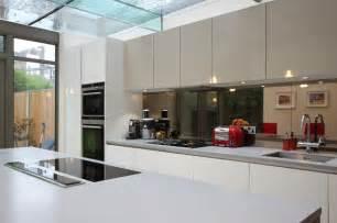 Corner Kitchen Cupboards Ideas bronzed mirrored splashback contemporary kitchen