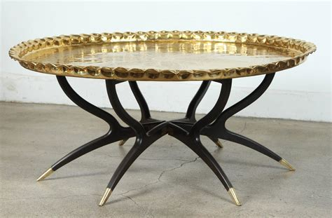 Large Polished Brass Tray Coffee Table On Spider Leg For Large Tray For Coffee Table