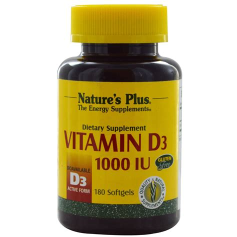 Vitamin D3 1000 Iu Nature S Plus Vitamin D3 1000 Iu 180 Softgels Iherb