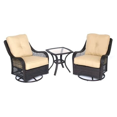 outdoor furniture 3 shop hanover outdoor furniture orleans 3 wicker patio conversation set at lowes