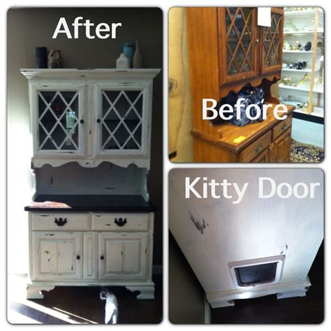 litter box to keep dogs out bought this china cabinet for 62 refinished it and added a door to hide the