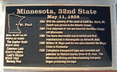 Minnesota The 32nd State corridor of flags historical marker