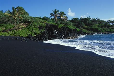 Volcanic Beach | black volcanic sand beach on hawaiis photograph by paul