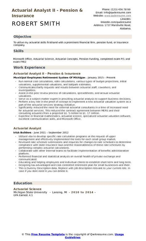 actuary resume template actuarial analyst resume sles qwikresume