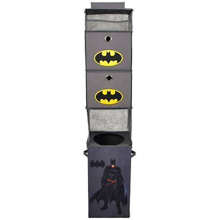 batman gray closet hanging organizer with 2 storage bins