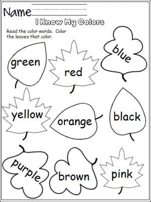 Color Word Worksheets by Free Color Worksheet For The Fall Students Read