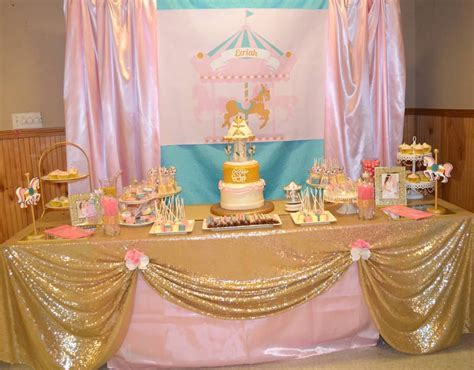 Pink and Turquoise Carousel Baby Shower Candy Buffet   Little Dimple Designs
