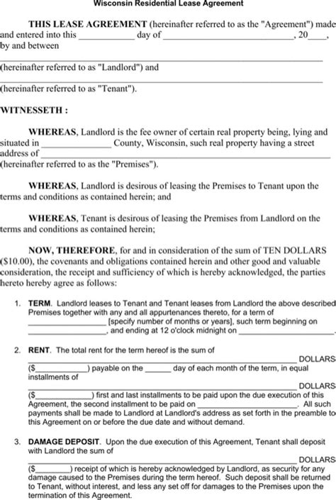 residential property lease agreement template wisconsin rental agreement for free formtemplate