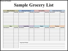 Grocery Template by Grocery List Template Beepmunk