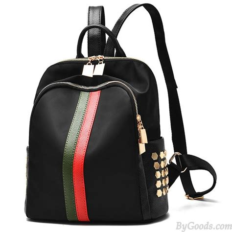 Stripe Oxford Backpack black frosted oxford cloth rivet bag pu unique green