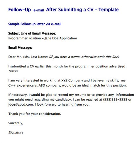 Resume Application Follow Up Email Follow Up Email Template 7 Premium And Free For Pdf
