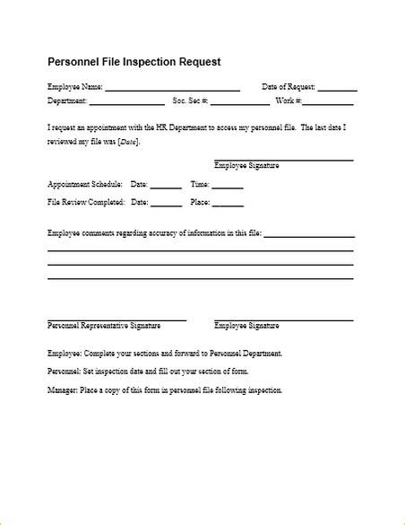 Letter Requesting Personnel File From Employer form specifications
