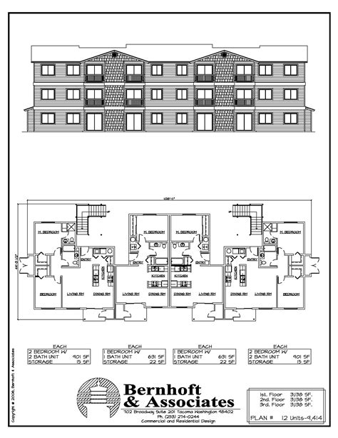 6 unit apartment building plans bernhoft associates